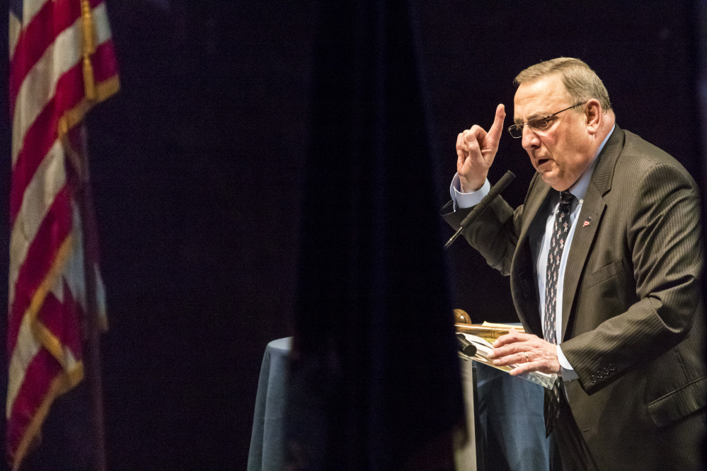 Gov. Paul LePage delivers his keynote address Saturday at the Maine Republican Party's state convention at the Cross Insurance Center in Bangor.