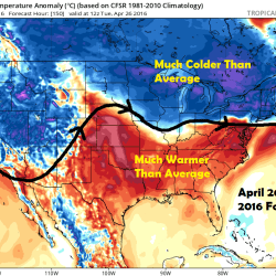 Temperature anomaly compared to average April 26th