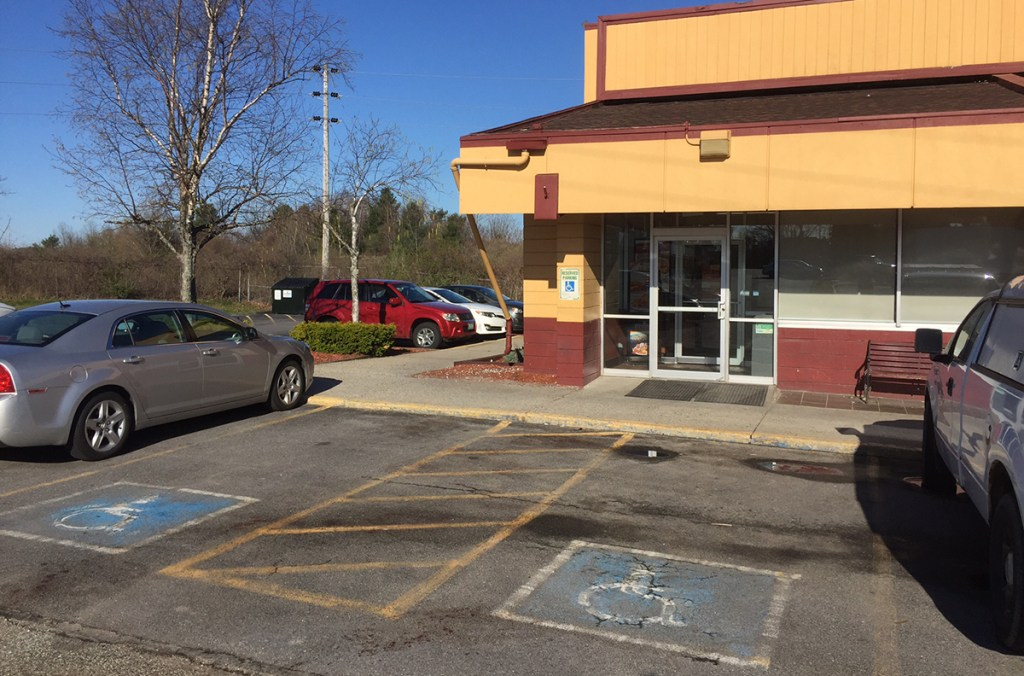 The scene outside Denny's on Brighton Avenue, where a man was stabbed in the parking lot just outside the entrance early Thursday morning. Photo by Matt Byrne/Staff Writer