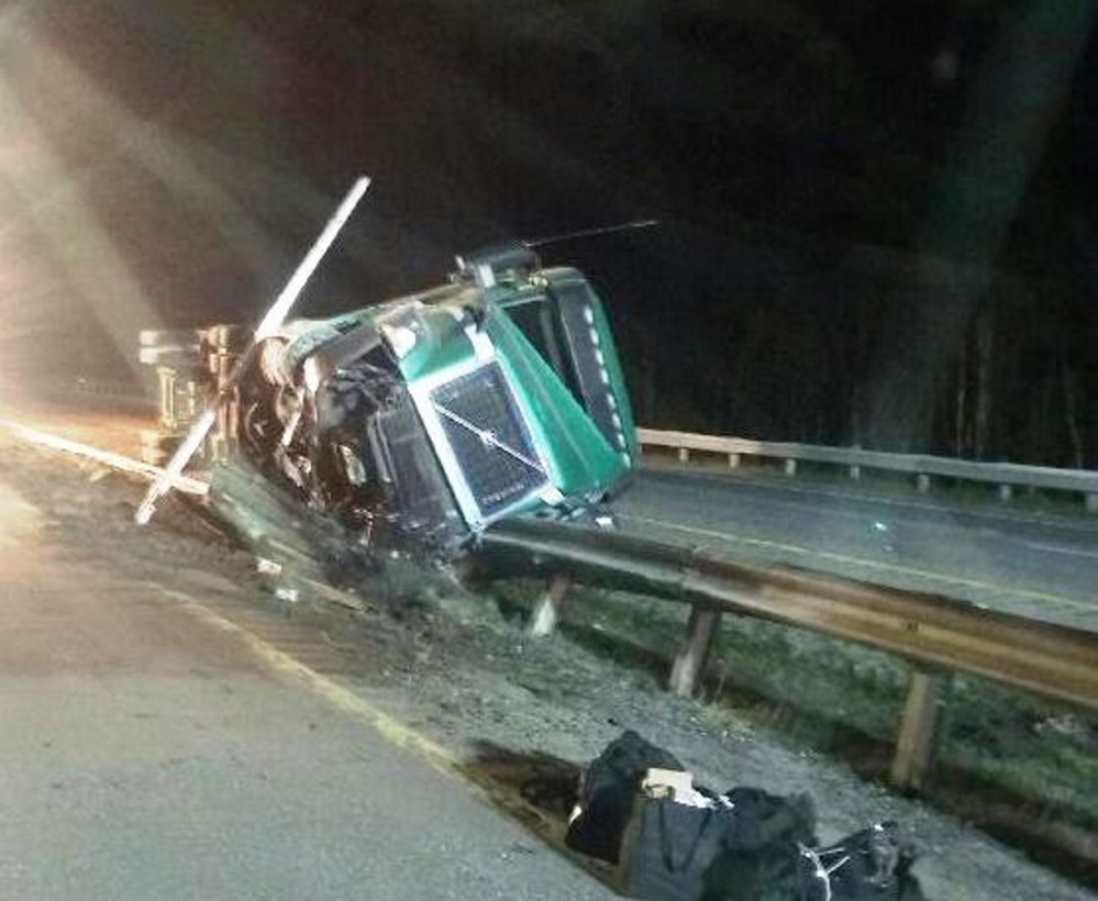 Duncan MacPhee, 44, of Cornwall, Prince Edward Island, fell asleep at the wheel while driving about 1 a.m. Monday on the Maine Turnpike in Farmingdale, police said.