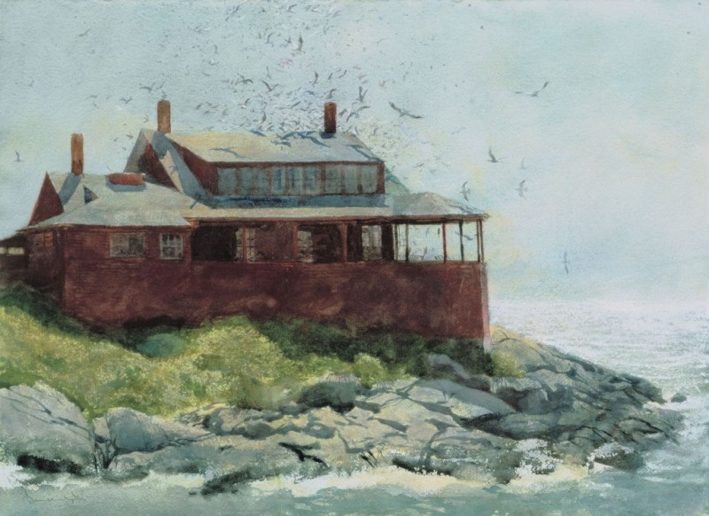"""""""Red House,"""" 1972, watercolor, 19"""" x 29"""", Courtesy Phyllis & Jamie Wyeth"""