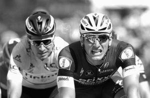 MARCEL KITTEL, right, of Germany crosses the finish line ahead of Peter Sagan of Slovakiato to win the fourth stage of the Tour de France cycling race over 147.3 miles with start in Saumur and finish in Limoges, France on Tuesday.
