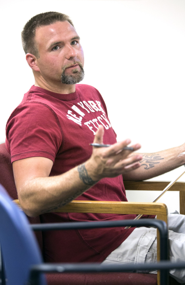 """Scott Dunbar, a recovering addict, participates in a group """"after care"""" session at Mid Coast Hospital's Addiction Resource Center last month."""