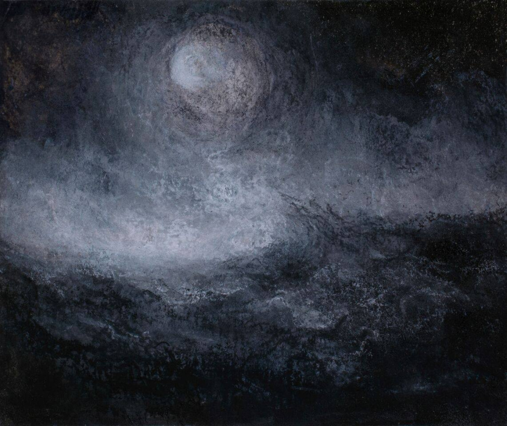 """Turbulence 2"" ink, charcoal and chalk"