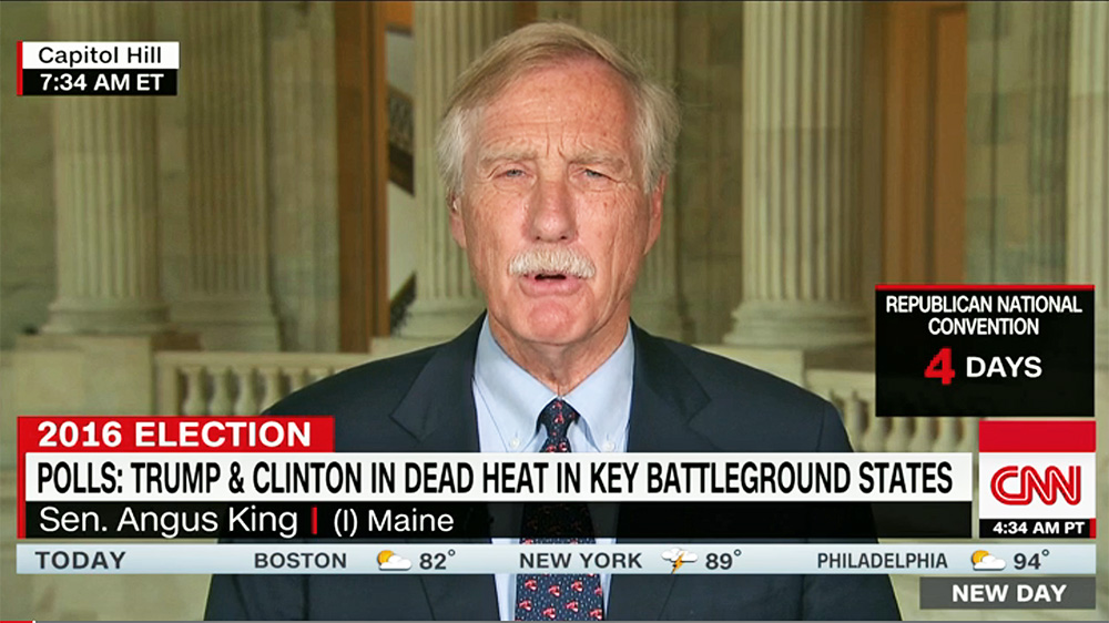 """""""We went up, took off across the country, and then had a nuclear attack exercise where an Air Force officer played the president,"""" Sen. Angus King told CNN's Chris Cuomo on """"New Day""""  Thursday morning. """"What got me, Chris, was . . . there's no checks and balances. There's no Congress. There's no Supreme Court. There's no consultation. There's one person making a decision about the future of civilization."""""""