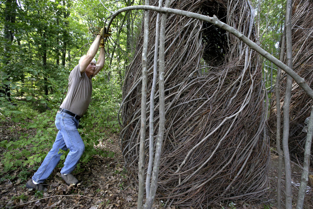"""Sculptor Patrick Dougherty bends a sapling while constructing an installation from branches and sticks at Tower Hill Botanic Garden, in Boylston, Mass. """"The Wild Rumpus"""" opens to the public on Thursday and will last a couple of years, depending on weather. A good sculpture """"sparks all kinds of feelings about things in your own life,"""" Dougherty says."""