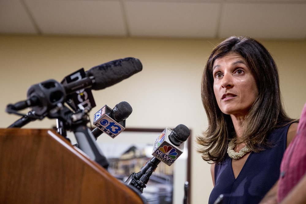 PORTLAND, ME - AUGUST 26: Rep. Sara Gideon of Freeport addresses the media at One City Center in Portland Friday, August 26, 2016 to respond to the obscenity-laced voicemail Gov. Paul LePage left for Rep. Drew Gattine of Westbrook on Thursday morning. (Photo by Gabe Souza/Staff Photographer)