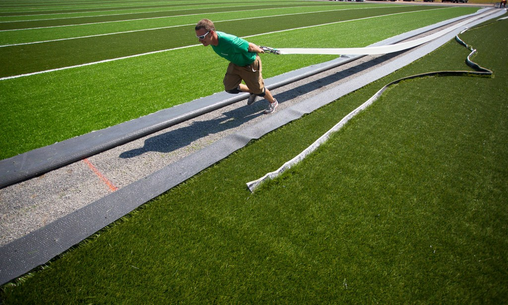 9ccf3e036 Crumb rubber infill is lifted from the turf as a Yarmouth High School field  hockey player drives a ball on the field Friday. Studies have been done by  the ...