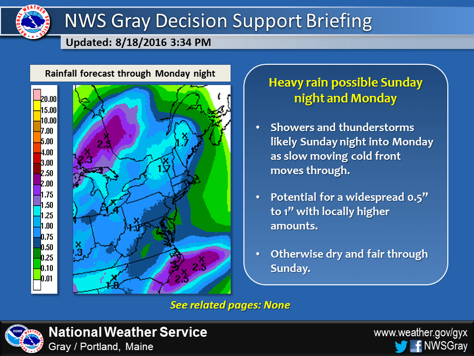 Showers may bring a soaking rain to the region Sunday night and the first part of Monday