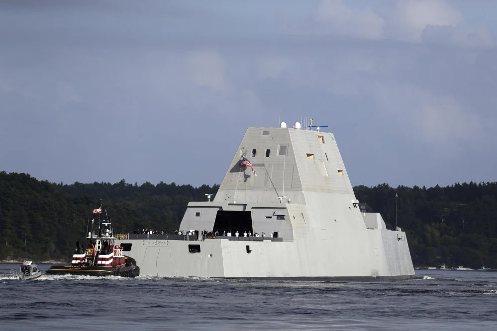 The Navy's Zumwalt destroyer heads down the Kennebec River on Sept. 9, 2016.