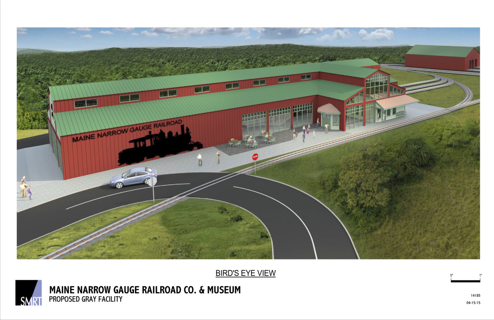 A digital rendering shows the Maine Narrow Gauge Railroad Co.'s proposed facility in Gray, which would include a museum, engine house, car barn and over 3 miles of track.