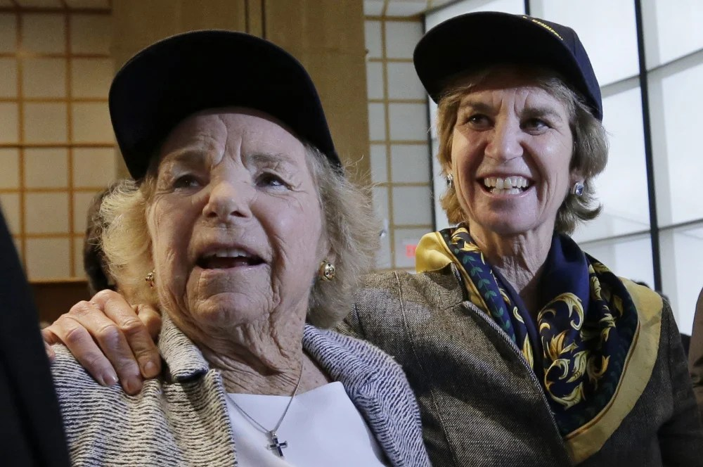 Ethel Kennedy, left, widow of the late Sen. Robert F. Kennedy, and daughter Kathleen Kennedy Townsend look at a rendering of the Robert F. Kennedy ship Tuesday.