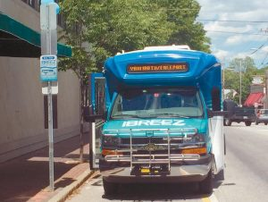 A METRO BREEZ BUS awaits passengers in downtown Freeport in this June file photo.