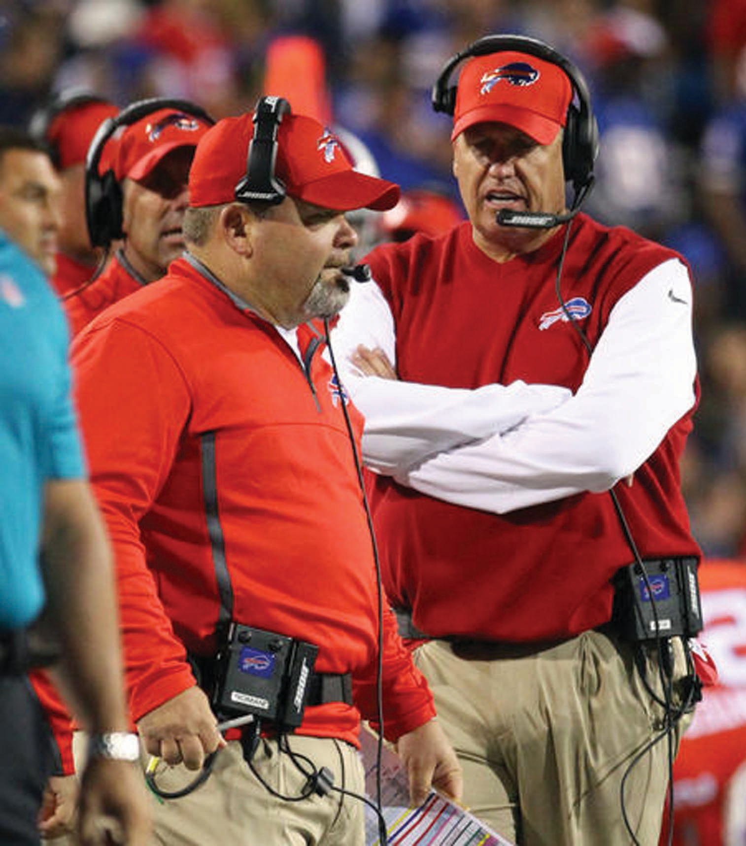 """In this Thursday, Sept. 15, 2016, file photo, Buffalo Bills offensive coordinator Greg Roman, left, and head coach Rex Ryan, right, work the sidelines during the first half of an NFL football game against the New York Jets in Orchard Park, N.Y. Buffalo Bills owner Terry Pegula tells The Associated Press that Rex Ryan has full authority in overseeing the team and fully supports the coach's decision to fire offensive coordinator Greg Roman. """"Head coach runs the team and staff,"""" Pegula wrote in a text message to the AP in disputing questions about who made the decision to fire Roman on Friday, Sept. 16, 2015."""