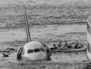 PASSENGERS in an inflatable raft move away from an Airbus 320 U.S. Airways aircraft that has gone down in the Hudson River in New York in 2009. More than seven years after an airline captain saved 155 lives by ditching his crippled airliner in the Hudson River, now the basis of a new movie, most of the safety recommendations stemming from the accident have yet to be followed.