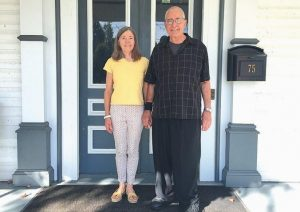 CAROLYN AND FRED CASE stand at the front door of the Southard House museum in Richmond, where they have been celebrating the town's Russian heritage with multiple exhibits this year.
