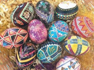 UKRAINIAN EASTER EGGS, created by Kate Cutko, who instructs an egg-making club at the Southard House museum.