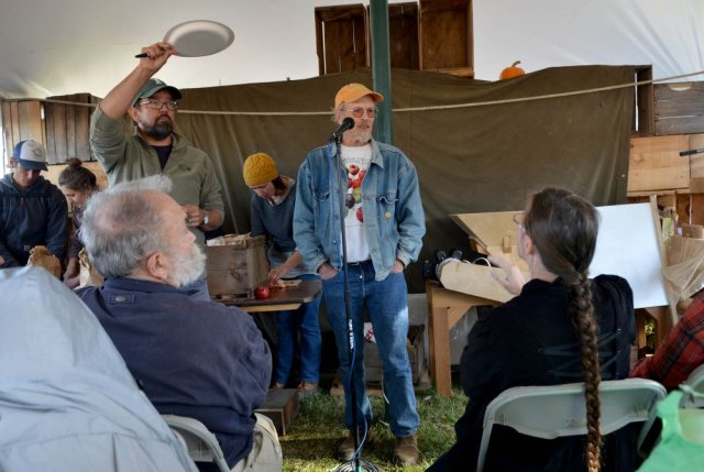 John Bunker speaks during an apple tasting event at the Common Ground Country Fair in Unity on Saturday. Bunker writes the Fedco Tree catalog and is an expert in apple identification. Michael G. Seamans/Morning Sentinel