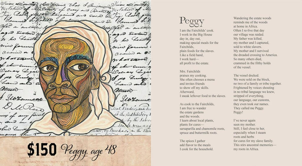"""Pages from Ashley Bryan's book """"Freedom Over Me"""" depicting one of the slaves, Peggy."""