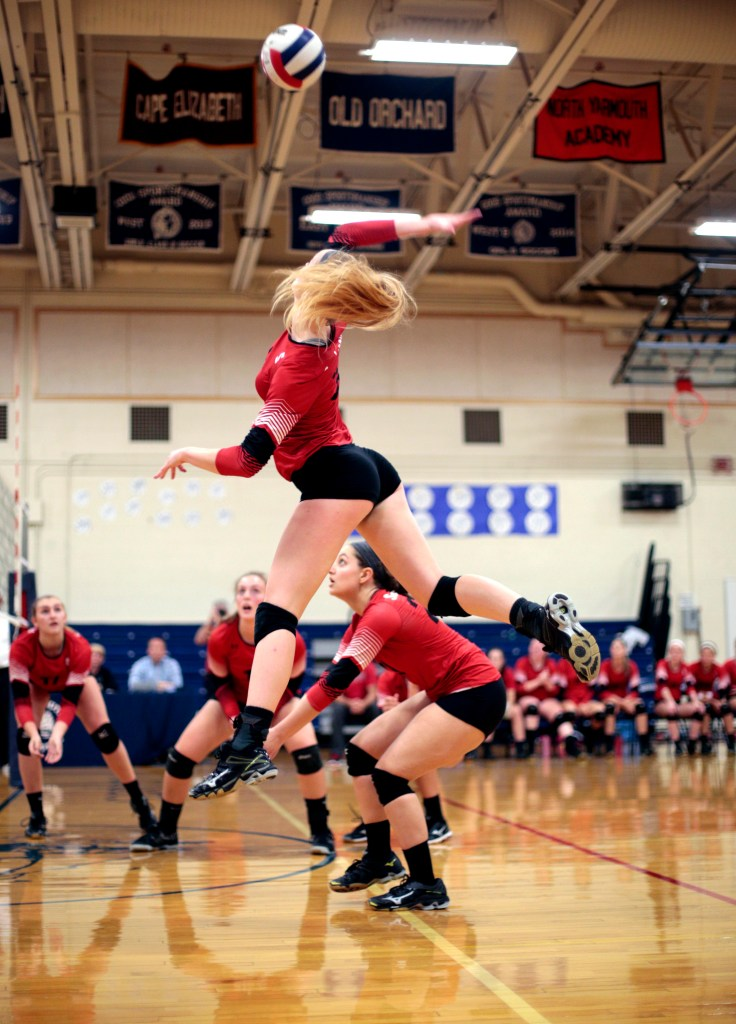 SEPT. 20: Kacey Foerster, who took command in the second game for Scarborough, soars to return the ball in a four-game victory against Yarmouth. Derek Davis/Staff Photographer