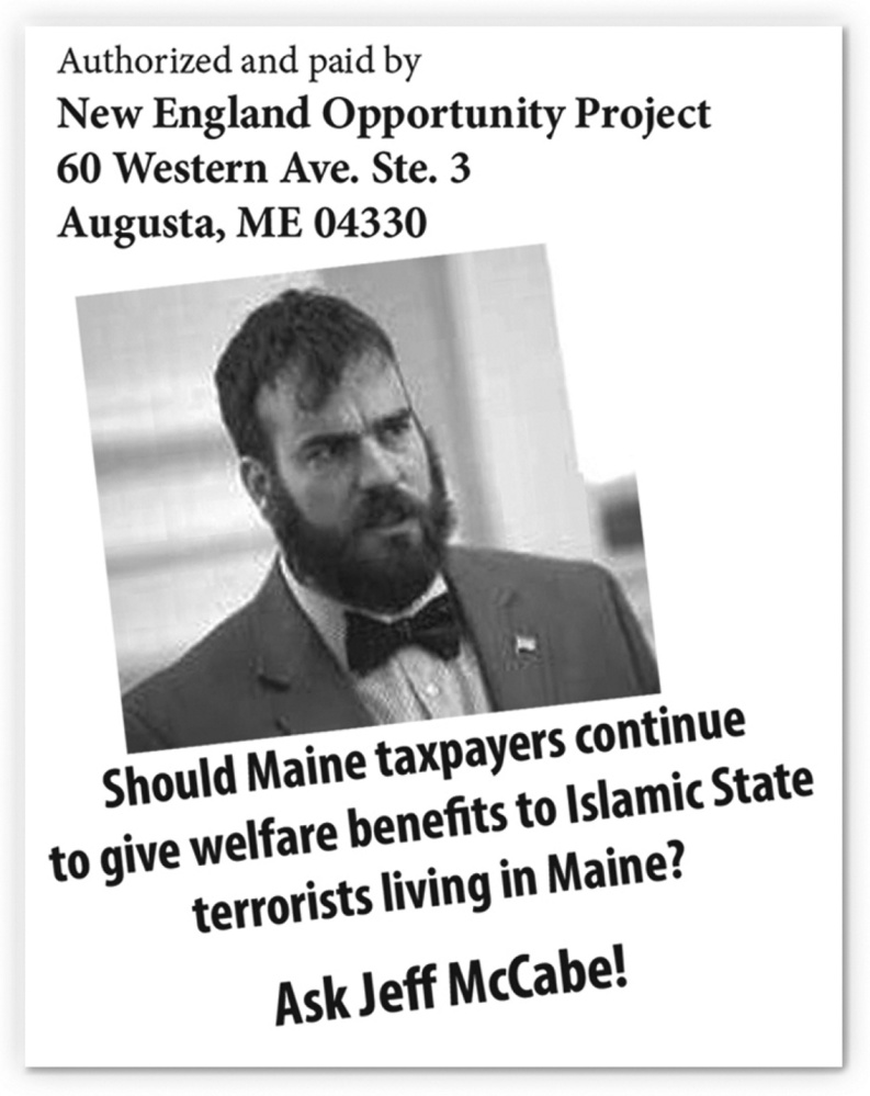 This image is from a flier targeting Maine House Majority Leader Jeff McCabe that was mailed recently to voters in the 2nd Congressional District.