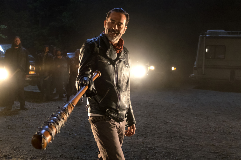 "Jeffrey Dean Morgan as the villainous Negan in the season seven premiere of ""The Walking Dead."""