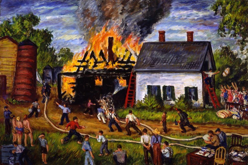 """Waldo Peirce, """"The Fire at East Orrington,"""" from """"Art of Disaster"""" at the Farnsworth."""