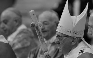 POPE FRANCIS arrives to celebrate the Holy Mass for the Jubilee of inmates, at St. Peter's Basilica at the Vatican, Sunday.