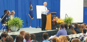 SEN. ANGUS KING lectures about Joshua Chamberlain at Hyde School in Bath on Friday during Maine Youth Leadership Day.