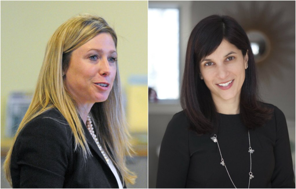Rep. Erin Herbig, D-Belfast, left, was selected by Democrats on Friday to be House majority leader, while Rep. Sara Gideon, D-Freeport, was chosen as speaker of the House.