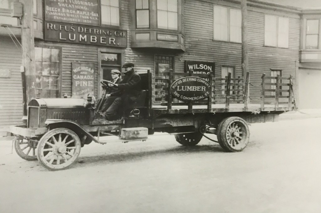 An undated photo of a Rufus Deering Lumber delivery truck.