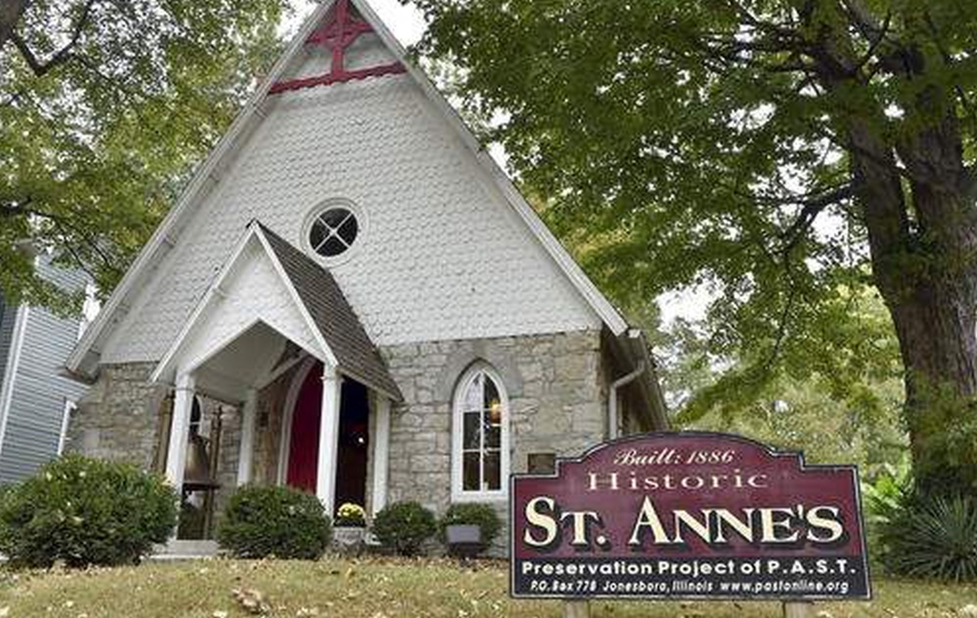 St. Anne's Episcopal Church in Anna, Ill. was built in 1886 and is one of the historic buildings preserved and restored by the group P.A.S.T (Promoting Appreciation of Structural Treasures). The church is listed on the U.S. National Register of Historic Places. (Richard Sitler/The Southern, via AP)