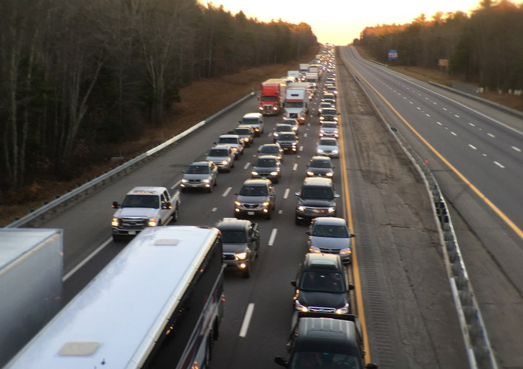 Maine Turnpike traffic backs up in the southbound lane near Kennebunk after two separate crashes on Nov. 18. 2016.