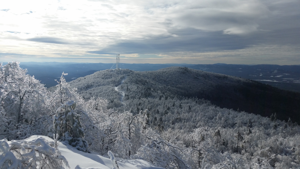 A view of the southwest summit from the Ledges Trail at Pleasant Mountain   Jake Christie photo