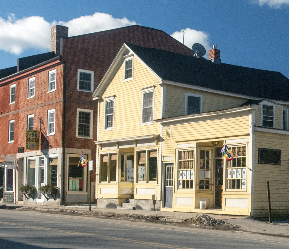 Slates restaurant in Hallowell moved this year from the brick Water Street building at left, where it was located for nearly 36 years, to the yellow building at right.
