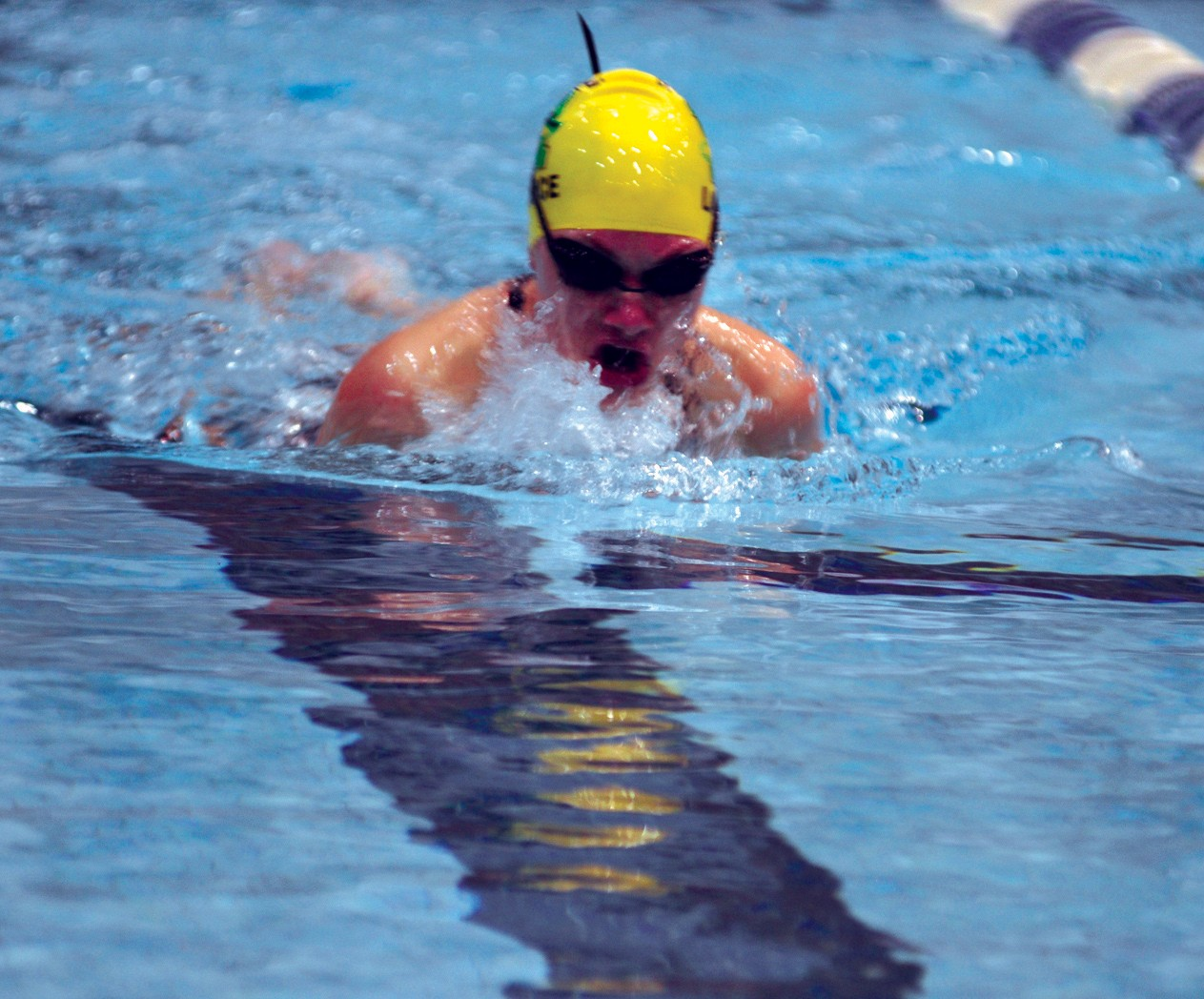 Massabesic's Sophia LaFrance competes in the butterfly. //ALEX SPONSELLER/ Journal Tribune