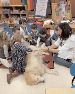 DR. SARAH MAGENIS of Bath-Brunswick Veterinary Associates recently visited Learning Land Nursery School in Brunswick. Children learned about the role of a vet, how similar their bodies are to dogs and listened to one's heartbeat.