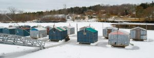THERE ARE 15 four-person ice shacks at Jim's Camps on the Cathance River in Bowdoinham, each one equipped ice holes for catching smelts and a wood stove to keep warm.