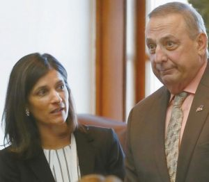 MAINE REPUBLICAN GOV. PAUL LEPAGE, right, and House Speaker Sara Gideon, D-Freeport, in Augusta in this December photo.