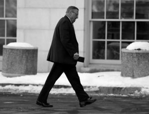 MAINE REPUBLICAN GOV. PAUL LEPAGE arrives at the State House, December 2016, in Augusta.