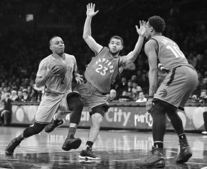 BROOKLYN NETS guard Randy Foye (2) drives against Toronto Raptors guard Fred VanVleet (23) during the fourth quarter of an NBA basketball game on Tuesday in New York. The Raptors won, 119-109.
