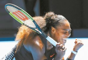 SERENA WILLIAMS celebrates her win over Britain's Johanna Konta during their quarterfinal at the Australian Open tennis championships in Melbourne, Australia, on Wednesday.