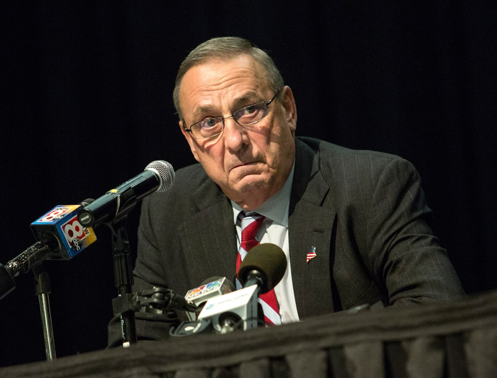 Gov. Paul LePage holds his first town hall meeting of 2017 on Wednesday night at Biddeford Middle School. More than 150 people attended, including opponents of many of LePage's positions.