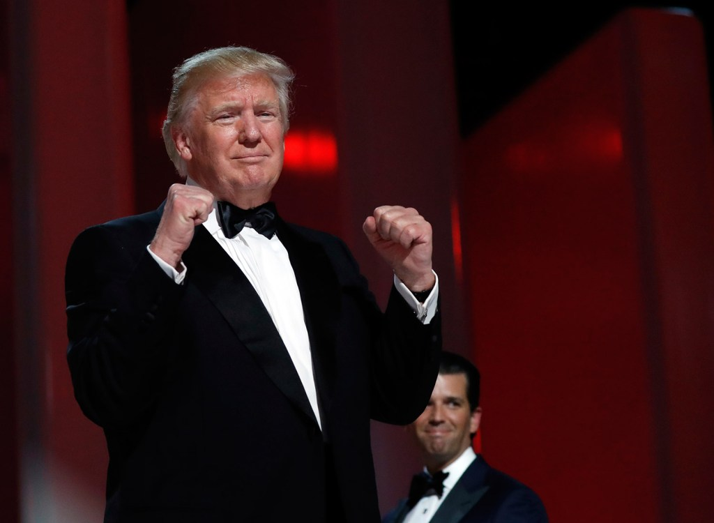 President Trump acknowledges the crowd at the Liberty Ball on Friday in Washington.