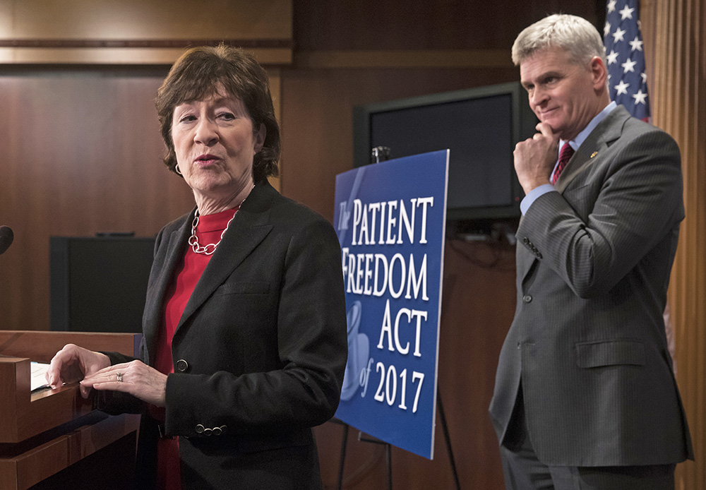Sen. Susan Collins and Sen. Bill Cassidy, R-La., introduce their health care bill in January. Collins is right when she says the goal of health care reform should be to insure the 28 million American's who aren't covered under the Affordable Care Act.