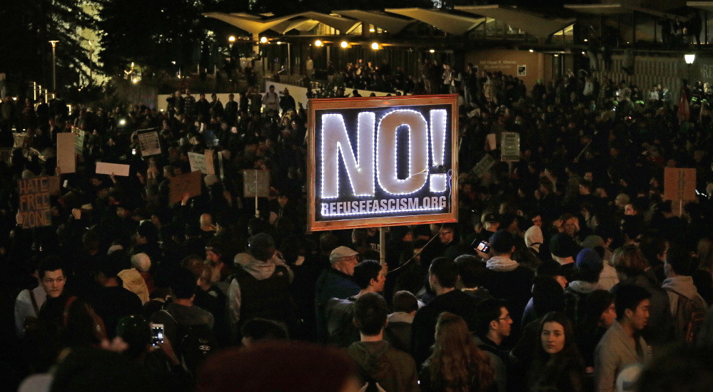 Protesters against a speaking appearance by Breitbart News editor Milo Yiannopoulos at the University of California, Berkeley, on Wednesday forced the event's cancellation. Associated Press/Ben Margot