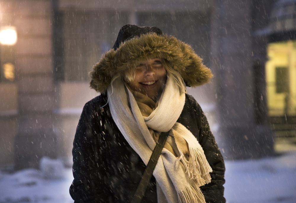 Lauren Williamson, a server at The Press Hotel in Portland, said she is one of several hotel employees who will stay overnight at the hotel so they can be available to work tomorrow, despite the blizzard.
