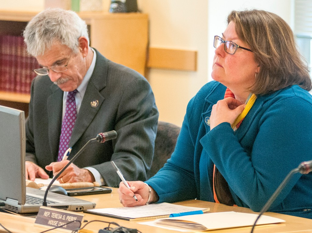 Sen. Roger Katz, R-Augusta, and Rep Teresa Pierce, D-Falmouth, co-chairs of the Legislature's Marijuana Legalization Implementation Committee, listen to testimony in February. Next week, their committee will begin reconsidering the bill that Gov. Paul LePage vetoed.