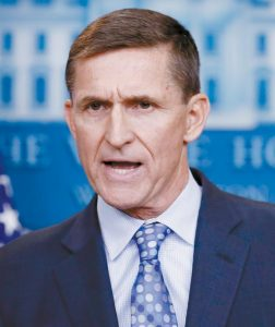 NATIONAL SECURITY ADVISER MICHAEL FLYNN speaks during the daily news briefing at the White House, in Washington. Flynn resigned as President Donald Trump's national security adviser Monday.