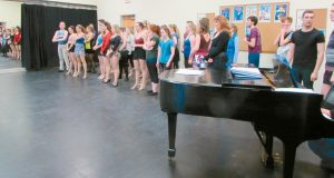 ACTORS PREPARE TO DANCE at Maine State Music Theatre's Local Auditions last year.